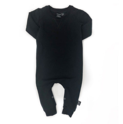 Bamboo Fleece Romper - Black, canada,- Minna.ca