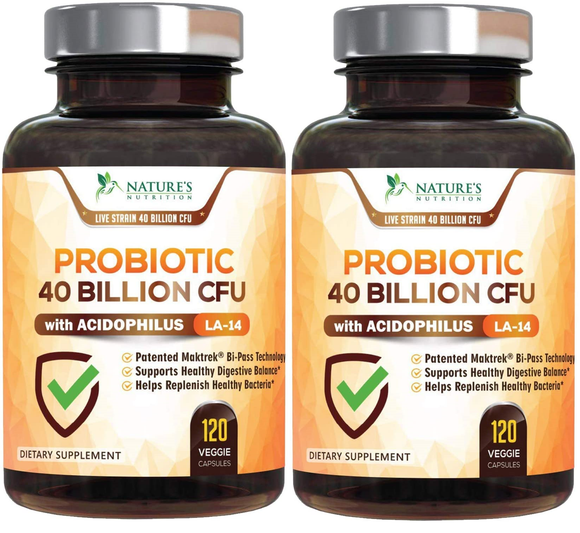 Probiotic 40 Billion CFU - 120 Capsules (2 Bottles)