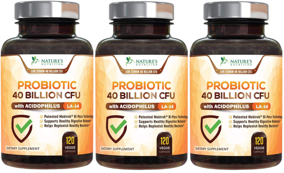 Probiotic 40 Billion CFU - 120 Capsules (3 Bottles)