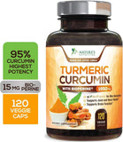 Turmeric Curcumin with BioPerine - 120 Capsules (1 Bottle) - Nature's Nutrition