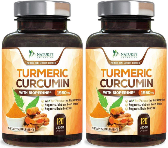 Turmeric Curcumin with BioPerine - 120 Capsules (2 Bottles) - Nature's Nutrition