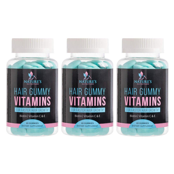 Hair Gummy Vitamins - 3 Bottles - Nature's Nutrition