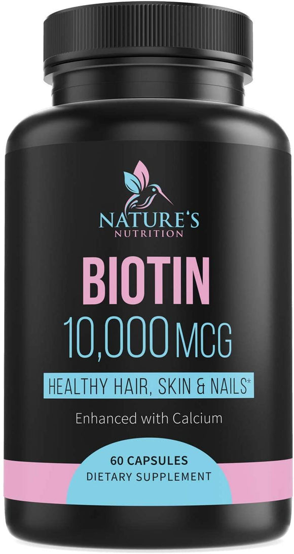 Biotin Supplement 10000mcg High Potency Vitamin B7 Pills - Made in USA - Supports Healthy Hair Growth, Hair Skin and Nails Vitamins for Women & Men - Gluten Free, Non-GMO