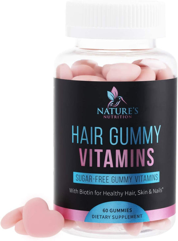 Hair Gummy Vitamins, Sugar Free with Biotin 5000 mcg, Vitamin A, B12, C, D, E, Folic Acid, Supports Hair Growth, Vegetarian Friendly, for Strong, Beautiful Hair and Nails, Non-GMO - Nature's Nutrition