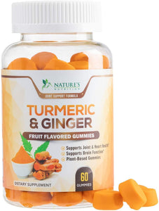 Turmeric Curcumin Gummies with Ginger, Extra Strength Chewable Vitamins Gummy, Best Vegan Joint Support Turmeric - Joint Comfort for Men and Women - Nature's Nutrition