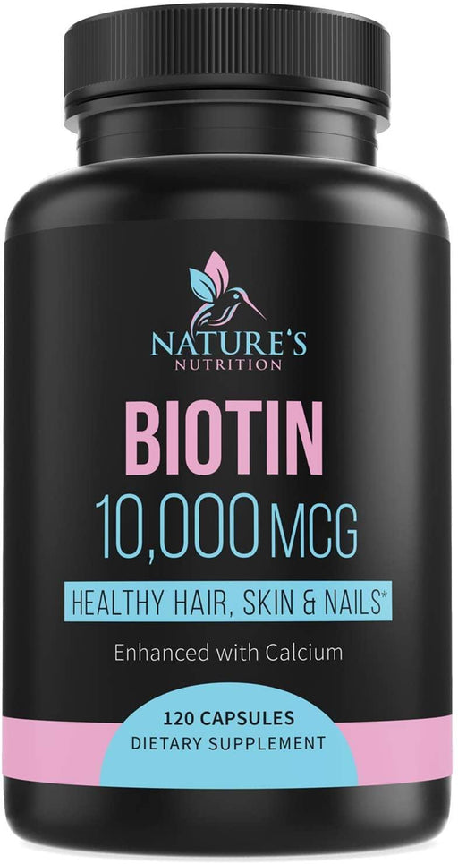 Biotin Supplement 10000mcg High Potency Vitamin B7 Pills - Made in USA - Supports Healthy Hair Growth, Hair Skin and Nails Vitamins for Women & Men - Gluten Free, Non-GMO - Nature's Nutrition