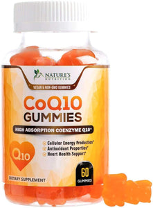 CoQ10 Gummies - Peach Gummy Vitamins with High Absorption Coenzyme Q10 100mg - Natural Antioxidant Dietary Supplement for Heart Health Support - Nature's Nutrition