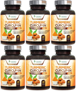 Turmeric Curcumin with BioPerine - 120 Capsules (6 Bottles) - Nature's Nutrition