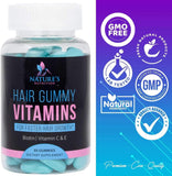 Hair Gummy Vitamins with Biotin 5000 mcg, Vitamin C & E to Support Hair Growth, Premium Pectin-Based, Non-GMO, to Support Strong, Healthy Hair & Nails. Blue Berry Supplement - 60 Gummy Bears