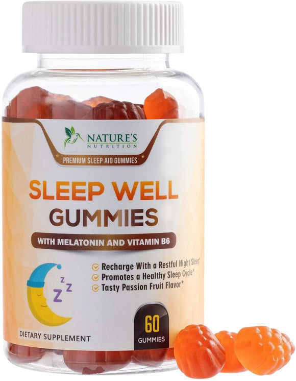 Sleep Support Melatonin Gummies Extra Strength Sleep Gummy with B6 and Passiflora - Natural Adult Sleeping Gummies - Best Vegan Non Habit Forming Sleep & Stress Support Supplement - Nature's Nutrition