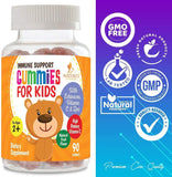 Kids Immune Support Gummies with C, Echinacea and Zinc - Children's Support Vitamin Gummy, Tasty Natural Fruit Flavor, Vegan by Nature's Nutrition - Nature's Nutrition