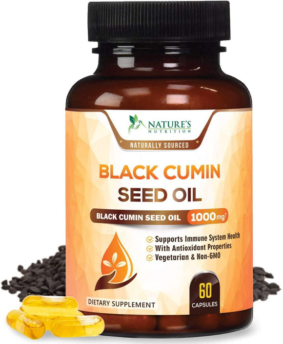 Black Seed Oil Capsules, 1000mg Premium Nigella Sativa Black Cumin Seed Oil, Non GMO, Vegetarian, Liquid Blackseed Oil Supplement - Nature's Nutrition