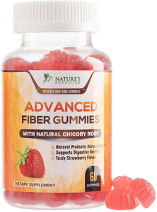 Fiber Gummies for Adults Extra Strength Inulin Gummy 3000mg - Natural Dietary Fiber Supplement for Digestion, Heart & Natural Weight Support - 60 Gummies
