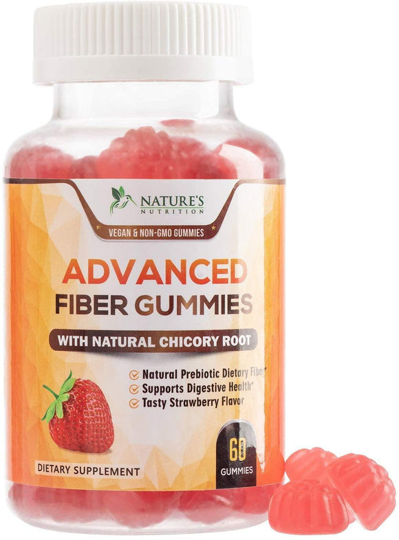 Fiber Gummies for Adults Extra Strength Inulin Gummy 3000mg - Natural Dietary Fiber Supplement for Digestion, Heart & Natural Weight Support - 60 Gummies - Nature's Nutrition