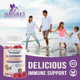 Elderberry Immune Support Gummies - Extra Strength Sambucus Black Elderberry Extract Gummy with Vitamins & Zinc - Immune System Support Supplement for Children & Adults - Nature's Nutrition