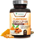 Turmeric Curcumin 100% Pure Extract 95% Curcuminoids with Bioperine Black Pepper for Best Absorption, Best Joint Support, Made in USA, Turmeric Pills by Natures Nutrition