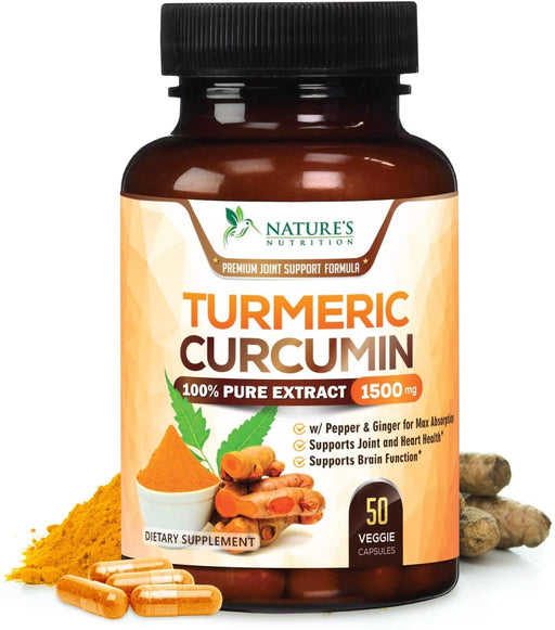 Turmeric Curcumin 100% Pure Extract 95% Curcuminoids with Bioperine Black Pepper for Best Absorption, Best Joint Support, Made in USA, Turmeric Pills by Natures Nutrition - Nature's Nutrition