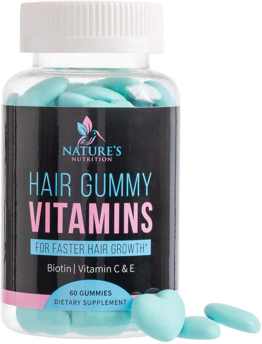 Hair Gummy Vitamins with Biotin 5000 mcg, Vitamin C & E to Support Hair Growth, Premium Pectin-Based, Non-GMO, to Support Strong, Healthy Hair & Nails. Blue Berry Supplement - Nature's Nutrition