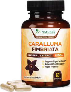 Caralluma Fimbriata Extract Extra Strength 1200mg - Natural Support for Metabolism & Endurance, Made in USA, Best Vegan Diet Supplement for Men & Women, Non-GMO - 120 Capsules - Nature's Nutrition