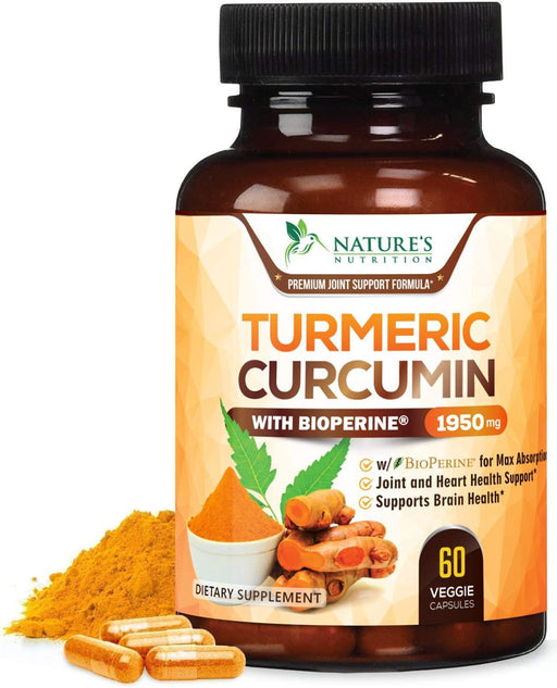 Turmeric Curcumin with BioPerine 95% Curcuminoids 1950mg with Black Pepper for Best Absorption, Made in USA, Best Vegan Joint Support, Turmeric Supplement by Natures Nutrition - Nature's Nutrition