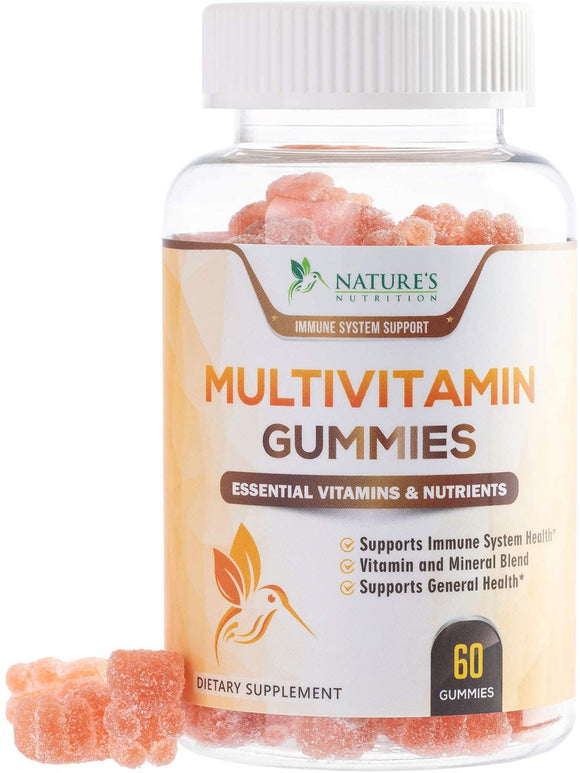 Multivitamin Gummies Extra Strength Adult Vitamin Gummy - Natural Complete Daily Supplement - Made in USA - Best Vegan Multi with Vitamins A, C, E, B6, B12 for Men and Women, Non-GMO - 60 Gummies