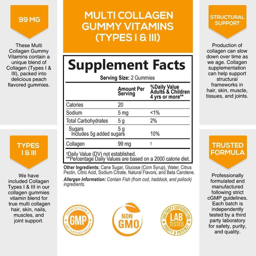 Collagen Gummies Type 1 and 3 - 10,000 mcg - Hair, Skin, and Nails Gummy Vitamins for Women and Men - No Gelatin, Non GMO - Tropical Flavor - 60 Gummies - Nature's Nutrition