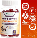 Immune Support Vitamin Gummies with Black Elderberry Extract, C & Zinc, Natural Pectin Based Gummy, Immune System Support Supplement for Children & Adults - Tasty Fruit Flavor - Nature's Nutrition