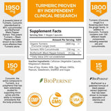 Turmeric Curcumin with BioPerine - 120 Capsules (3 Bottles) - Nature's Nutrition