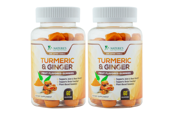 Turmeric Curcumin and Ginger Gummies - 2 Bottles