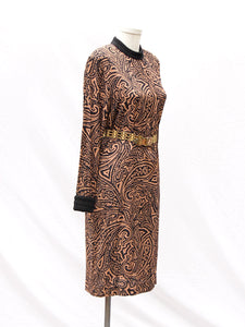 Brown L/S Brocade Dress