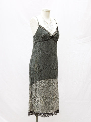 90's B&W Slip Dress w Lace
