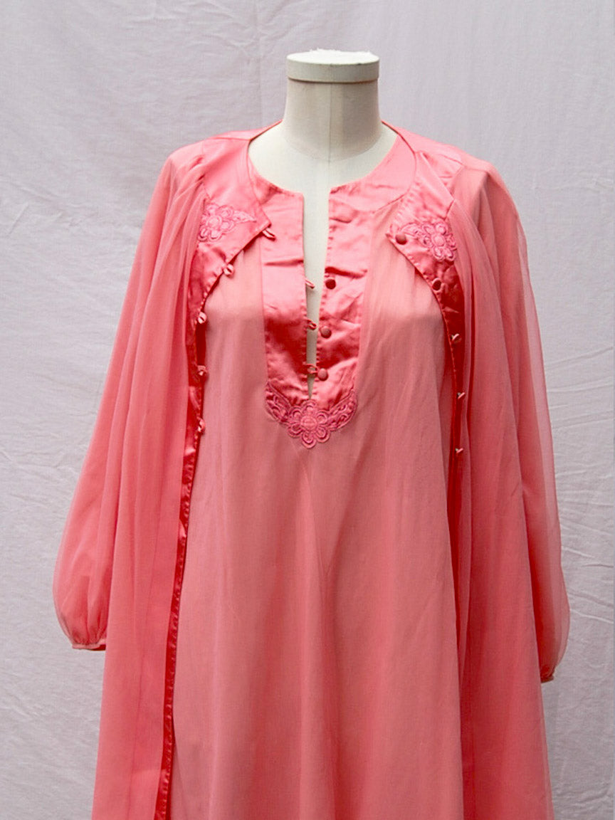 Pink Negligee Robe Set