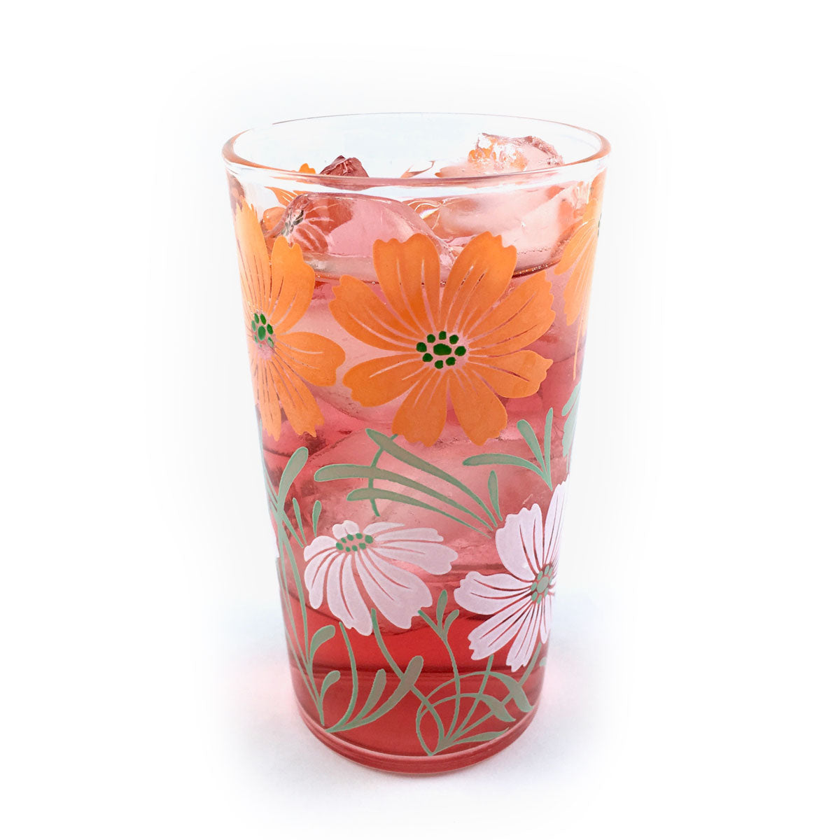 Glass Tumbler Orange Flowers