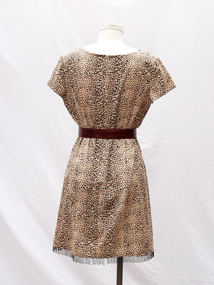 Leopard Dress with Beaded Fringe