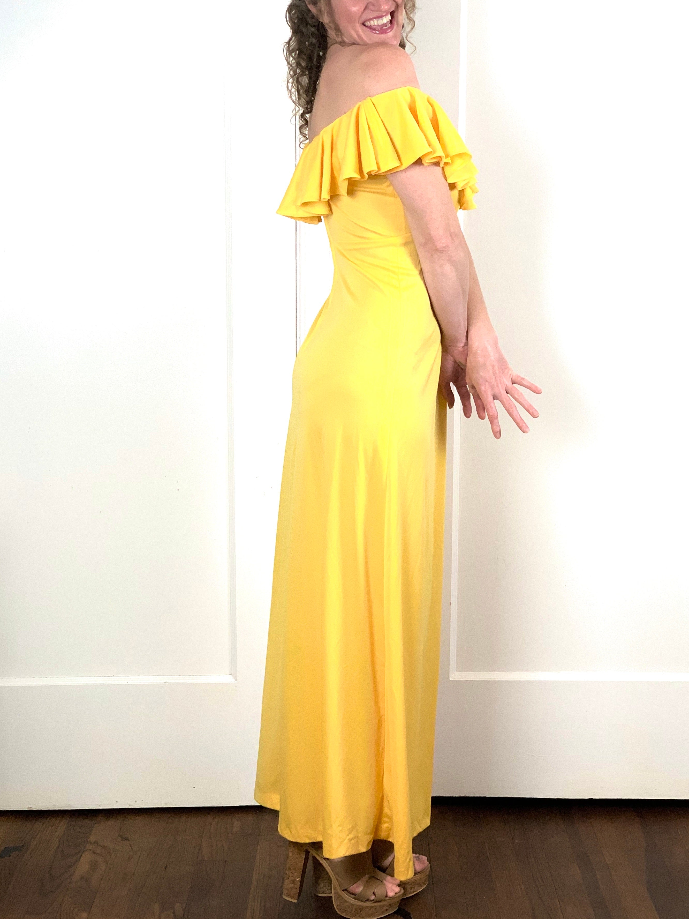 Yellow Ruffle Maxi - S