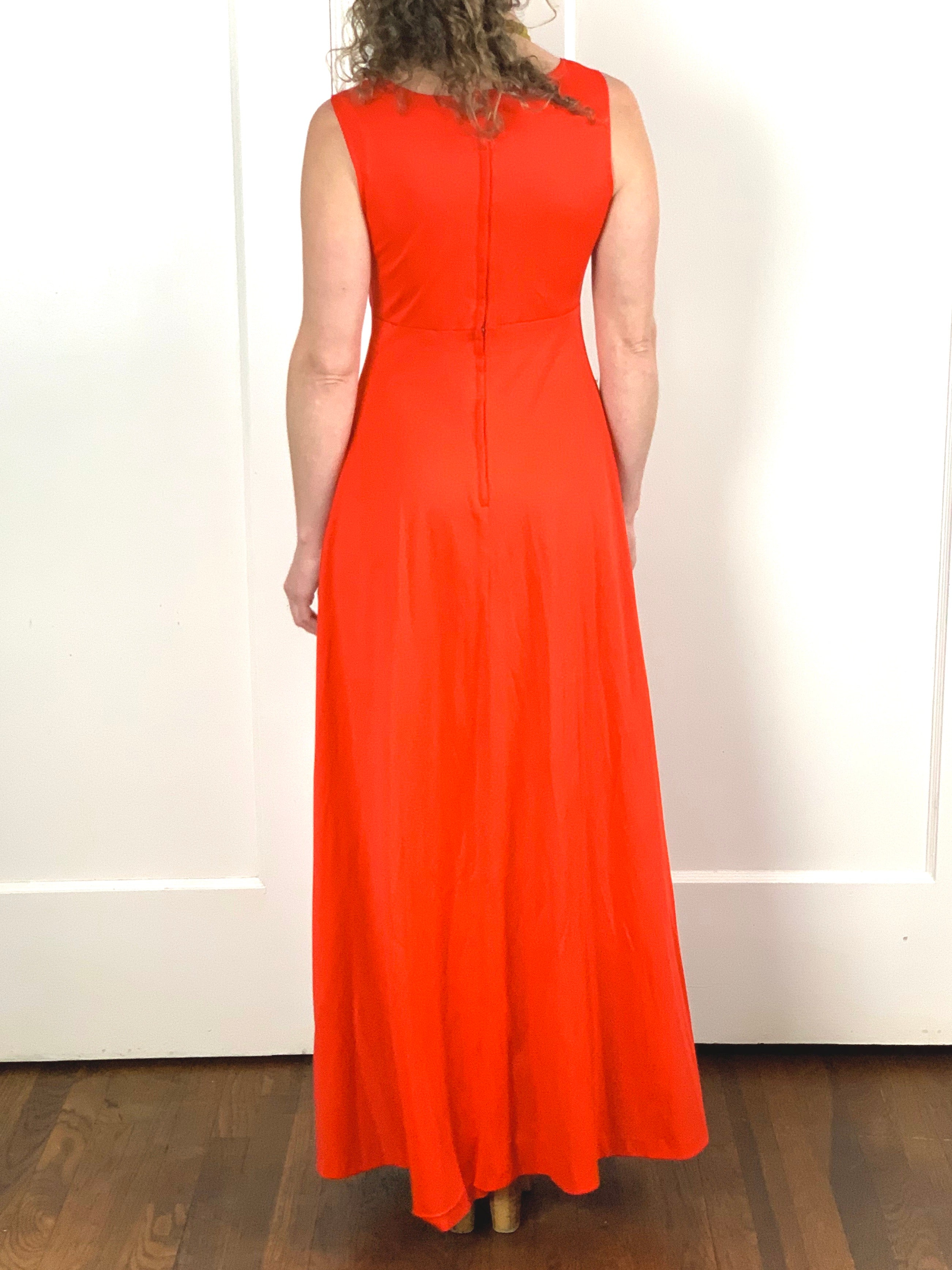 Coral Red Maxi Dress - S/M
