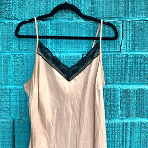 Silk Cream Slip Dress with Black Lace
