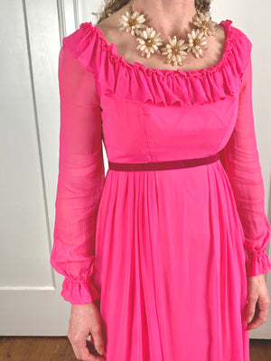 Pink Chiffon Dress - S