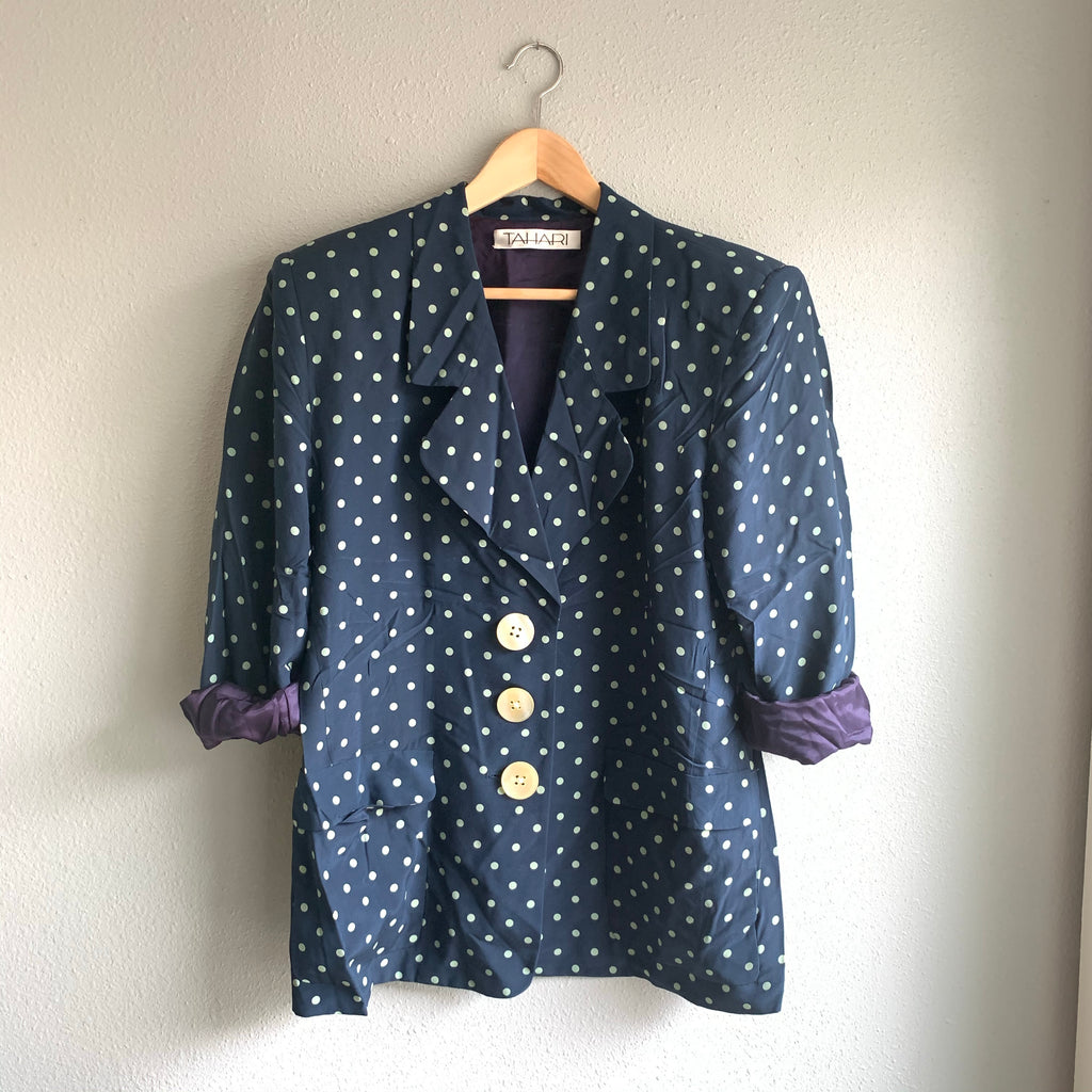Silk Tahari Navy Dot Blazer