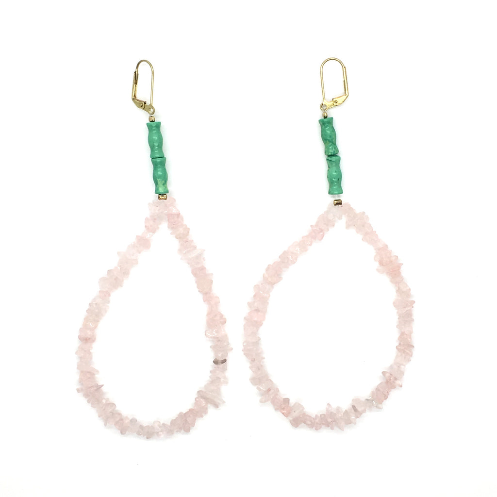 Epic Rose Quartz Hoop Earrings