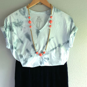 Vintage coral and snake chain necklace