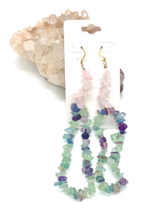 Avalanche Fluorite/Rose Quartz Earrings