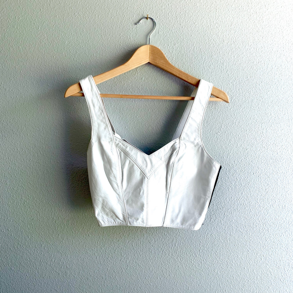 White Leather Crop
