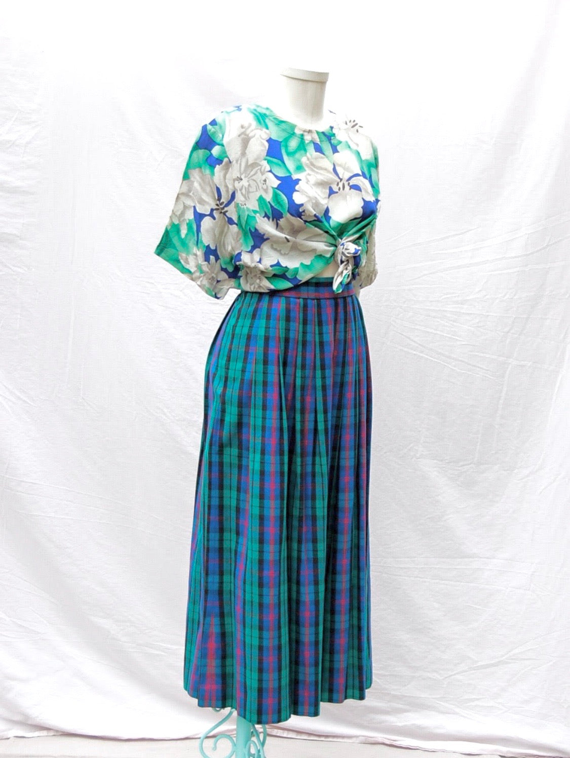 Plaid Pleated Skirt
