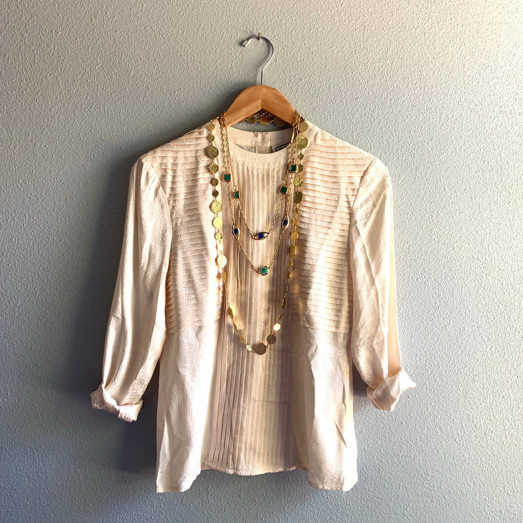 Silk Long Sleeve Cream Top