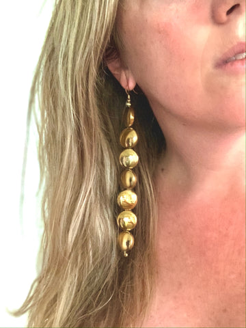 Long Gold Disc Earrings
