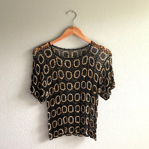 Black + Gold Crochet Top