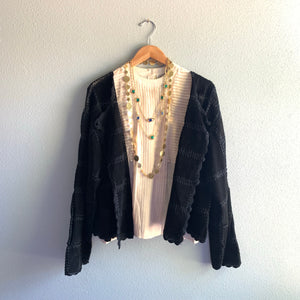 Leather Patchwork Crocheted Jacket