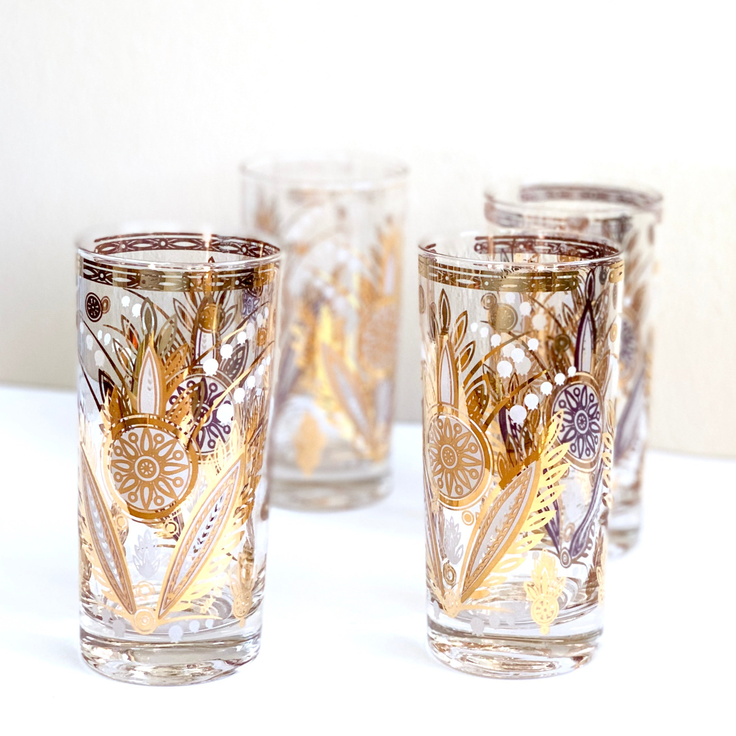 Vintage Metallic Gold Glasses (Set of 4)
