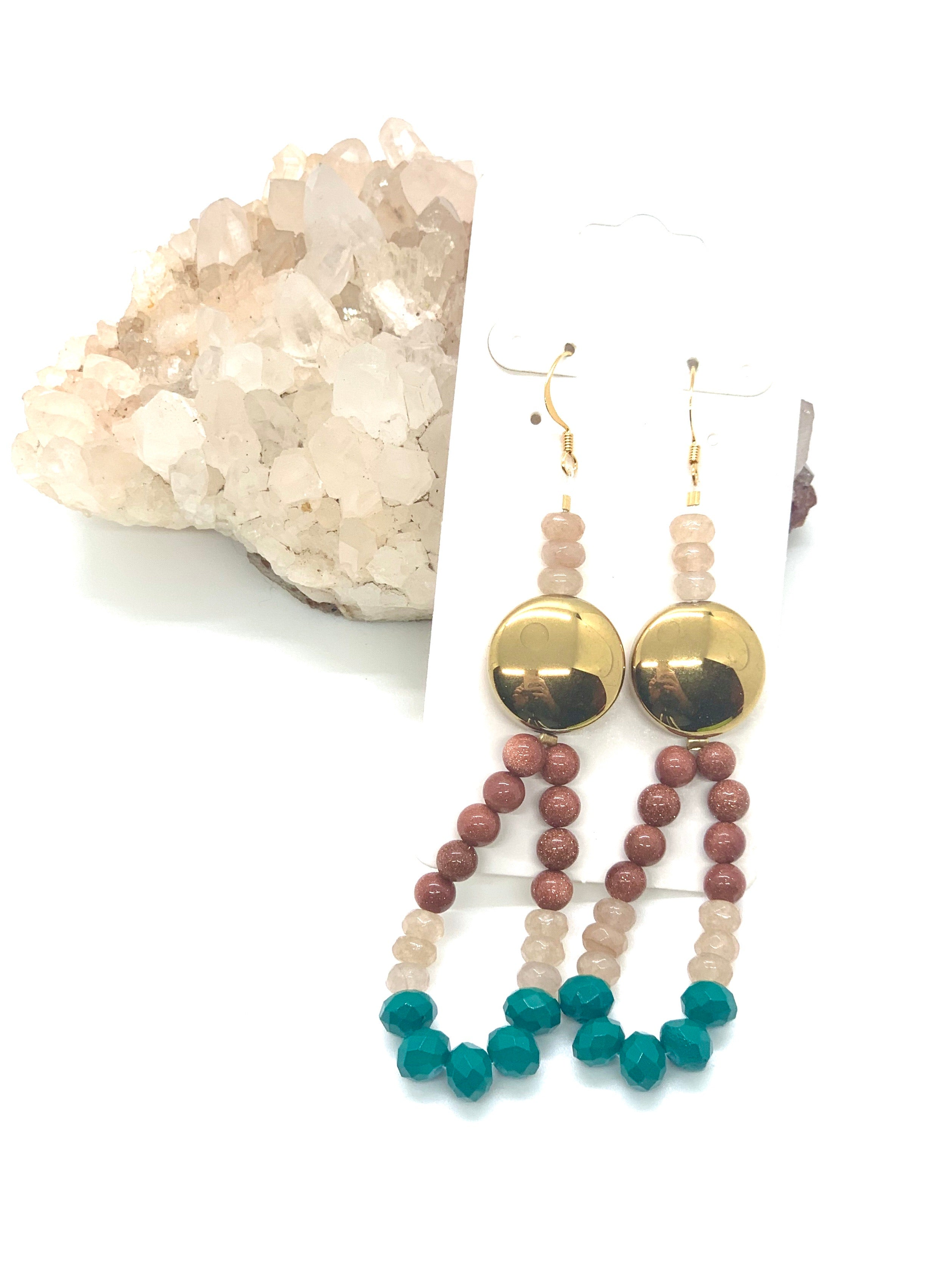 Gold Disc Agate Earrings